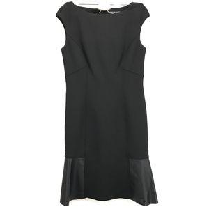Structured Black Leather Panel Midi Formal Dress
